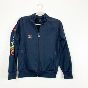 Adidas Large Navy Full Zip Mock Neck Bomber Jacket